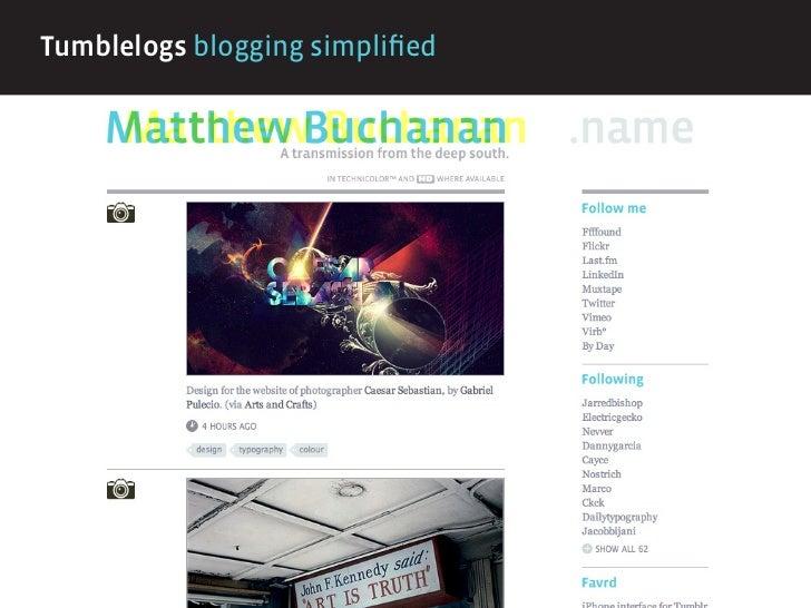 Tumblelogs blogging simplified