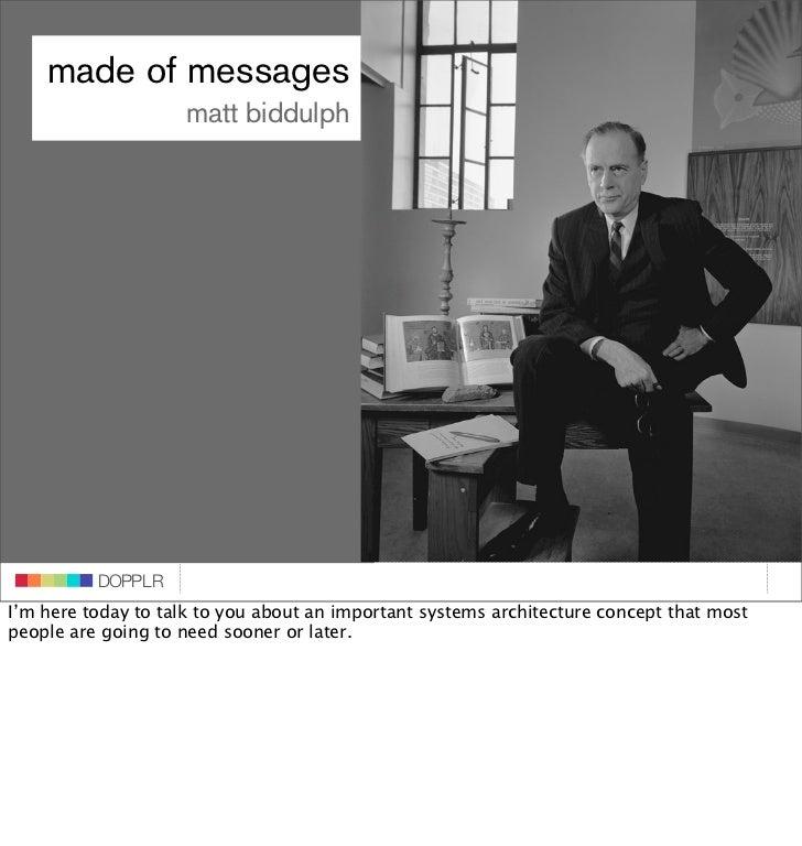 Dopplr: It's made of messages - Matt Biddulph