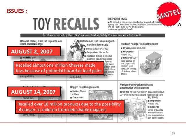 mattel and the toy recalls b Mattel toy recall case study no description by angie heuring on 7 november 2012 tweet comments (0) please log in to add your comment report abuse more presentations by angie heuring mattel toy recall popular.