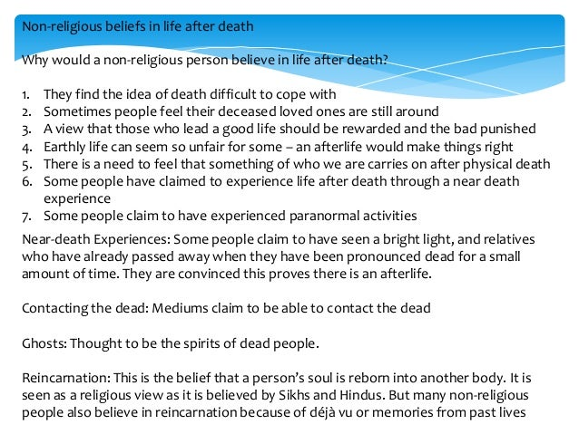 christian life after death essay Christianity focuses on the belief of life after death as a central christian denominations base their essays related to christian views on the afterlife 1.