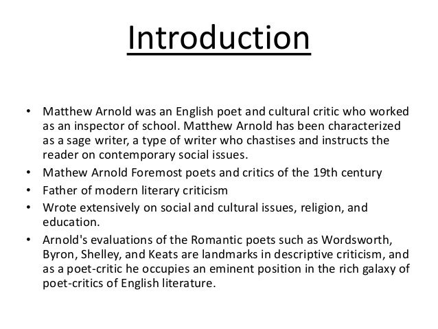 Matthew Arnold morality analysis