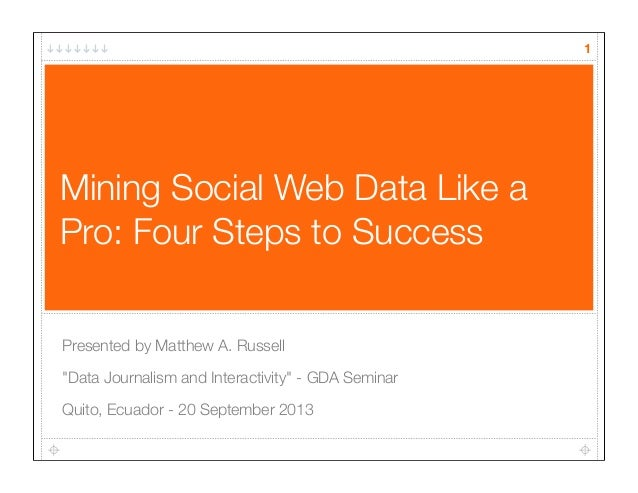 """Mining Social Web Data Like a Pro: Four Steps to Success Presented by Matthew A. Russell """"Data Journalism and Interactivit..."""