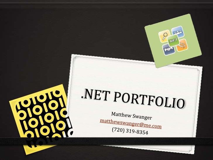 Matthew Swanger .NET Portfolio