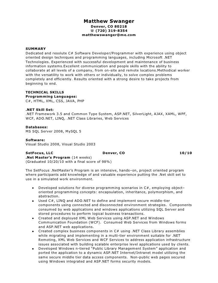 Resume Resume Examples For Net Developer 1 year experienced software developer resume sample dalarcon com experience format for net dalarcon