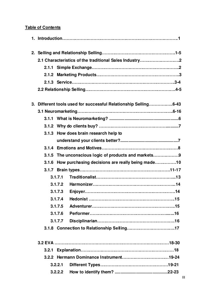 table of contents of dissertation
