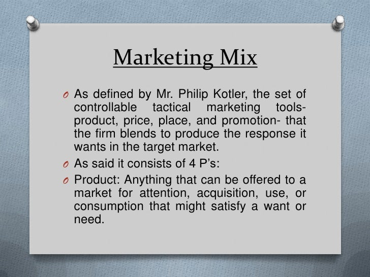 extended marketing mix philip kotler The influences of extended marketing mix on customer satisfaction in the (kotler, 2003) i www the marketing mix management paradigm has been important in.