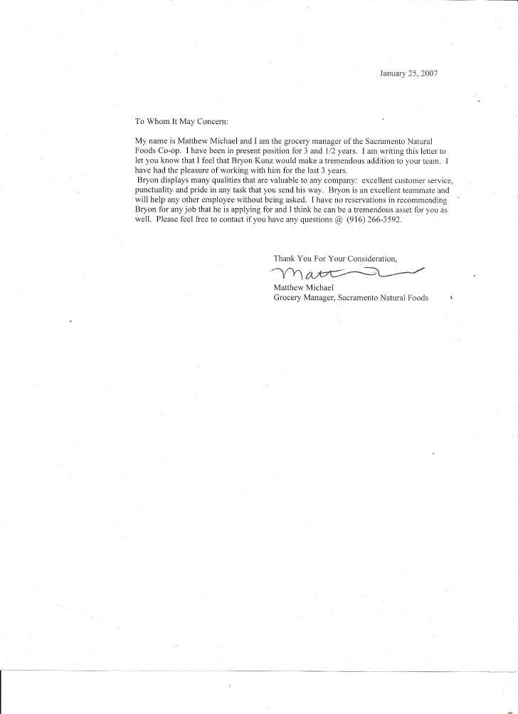 Reference Letter from Matt Michael