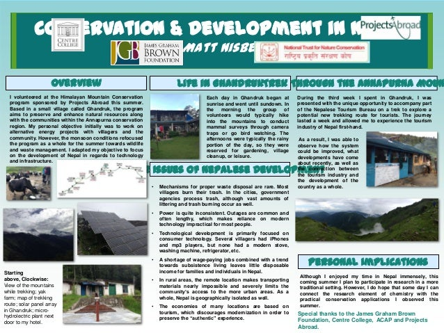 Conservation & Development in Nepal Matt Nisbet Overview  Life in GhandrukTrek Through the Annapurna Moun  I volunteered a...