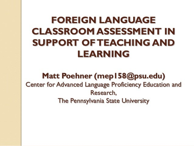 "assessment of foreign language learning in Coupled with the recent emphasis on learner-centered approaches to language teaching and self-regulated language learning, the use of various forms of sa is on the rise in language programs worldwide according to oscarson (1989), sa is a type of assessment where learners engage in ""internal or."