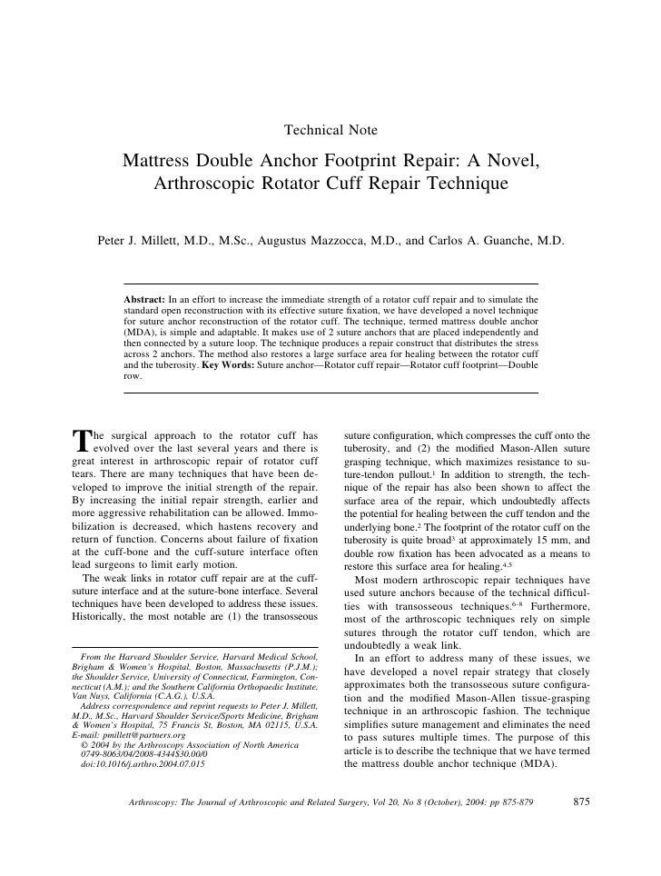 Technical Note               Mattress Double Anchor Footprint Repair: A Novel,                 Arthroscopic Rotator Cuff R...