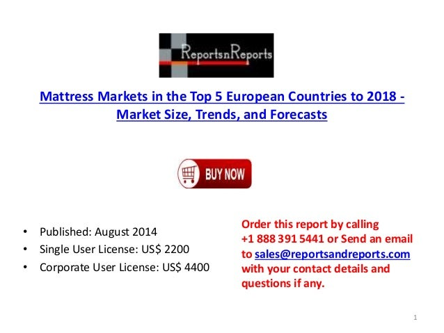 Mattress Markets in the Top 5 European Countries to 2018 - Market Size, Trends, and Forecasts • Published: August 2014 • S...