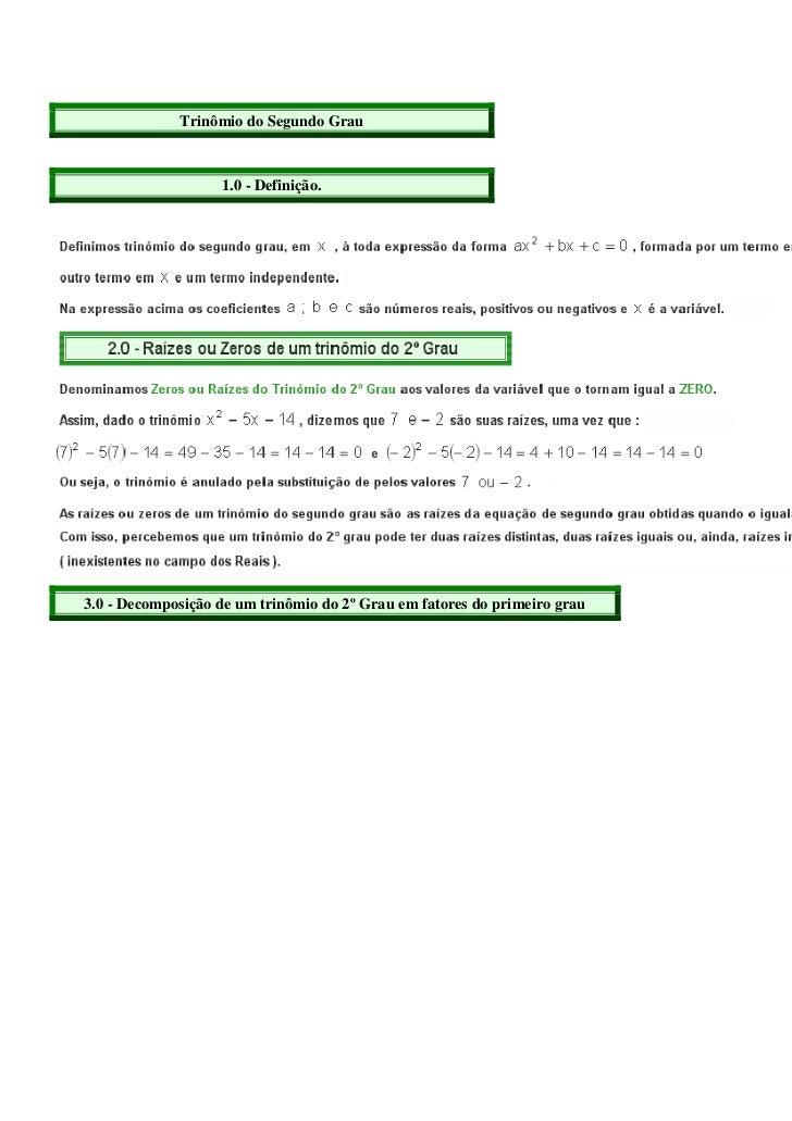 Mat trinomio do segundo grau