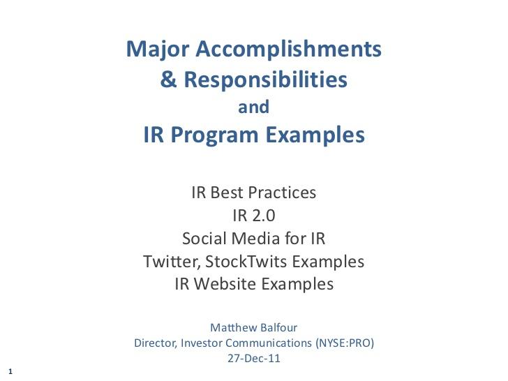 major accomplishments examples