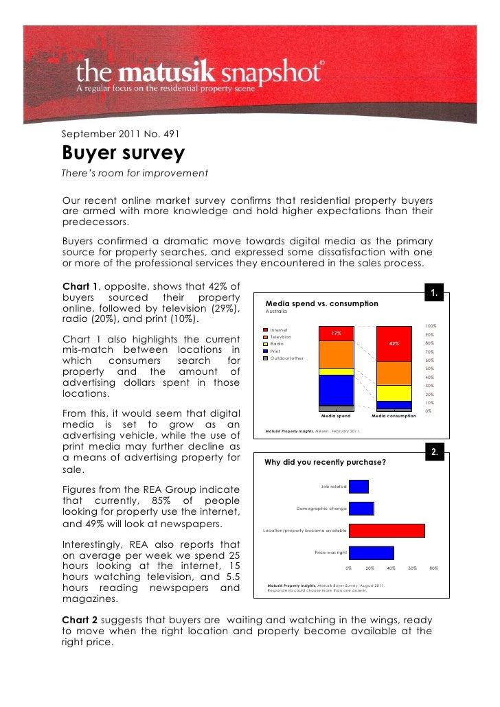 September 2011 No. 491Buyer surveyThere's room for improvementOur recent online market survey confirms that residential pr...