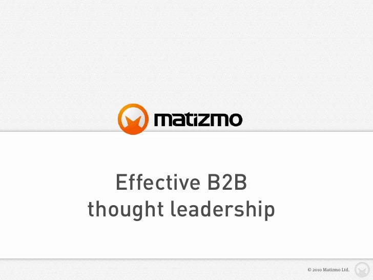 Effective B2B thought leadership
