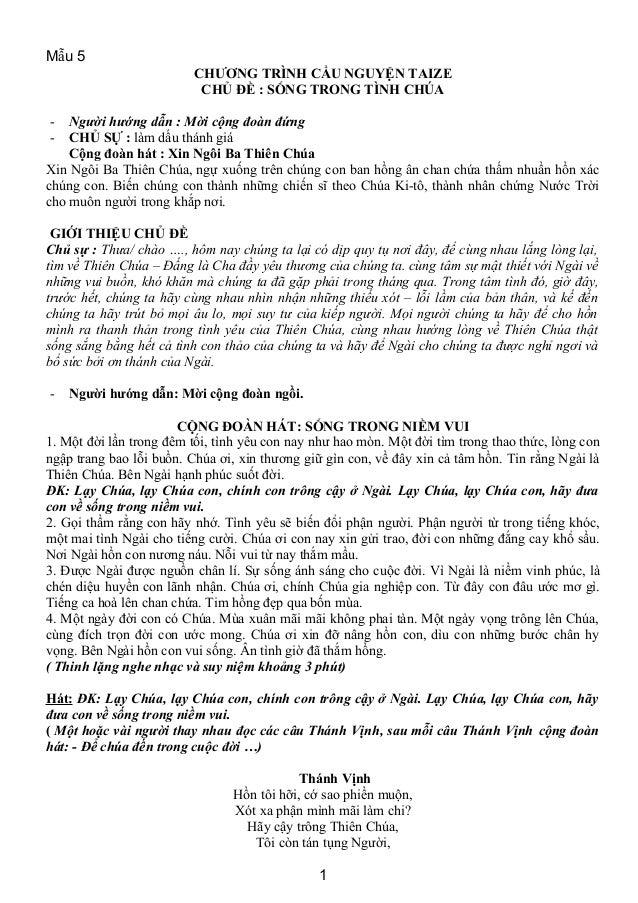Mẫu 5 CHƯƠNG TRÌNH CẦU NGUYỆN TAIZE CHỦ ĐỀ : SỐNG TRONG TÌNH CHÚA - Người hướng dẫn : Mời cộng đoàn đứng - CHỦ SỰ : làm dấ...