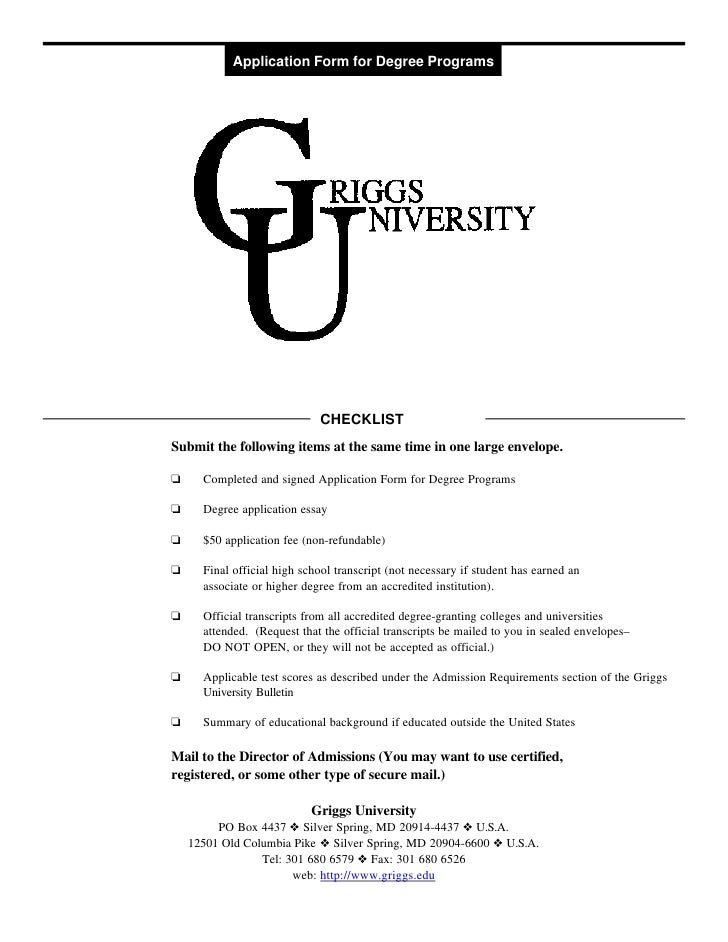 Application Form for Degree Programs                             CHECKLISTSubmit the following items at the same time in o...