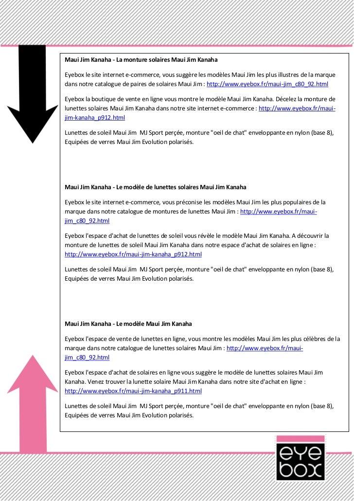 Maui Jim Kanaha - La monture solaires Maui Jim KanahaEyebox le site internet e-commerce, vous suggère les modèles Maui Jim...