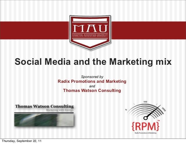Social Media and the Marketing Mix