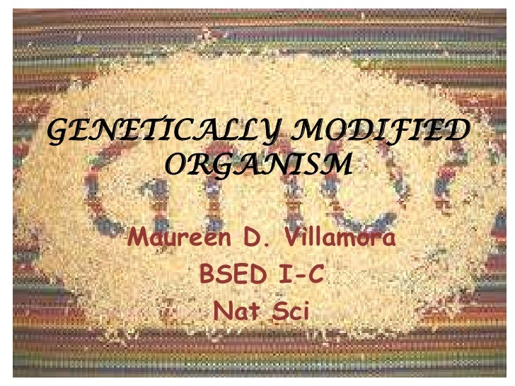 GENETICALLY MODIFIED ORGANISM<br />Maureen D. Villamora<br />BSED I-C<br />Nat Sci<br />