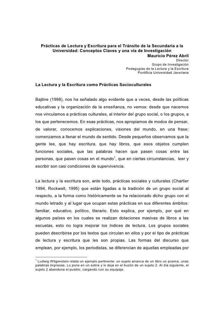 Prácticas de Lectura y Escritura para el Tránsito de la Secundaria a la          Universidad: Conceptos Claves y una vía d...
