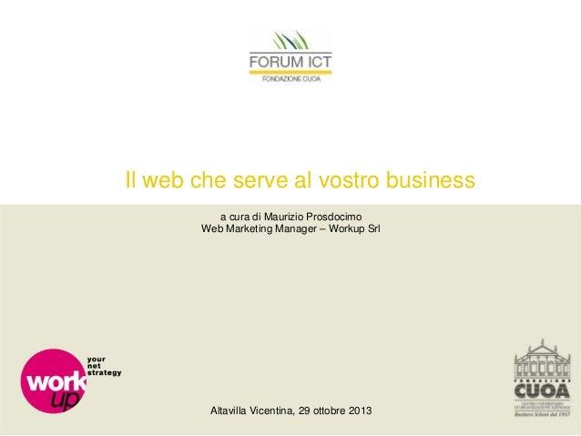Il web che serve al vostro business a cura di Maurizio Prosdocimo Web Marketing Manager – Workup Srl  Altavilla Vicentina,...