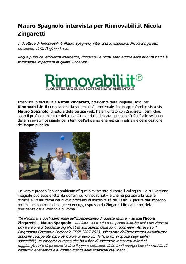 Nicola Zingaretti a Rinnovabili.it: ecco le mie priorità ambientali