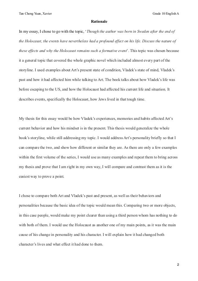 analytical essay on maus J george 05/14 /12 maus analytical essay (two part assignment) you should already have done the following: a) read the text at home, at your own pace and style.