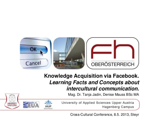 Knowledge Acquisition via Facebook.Learning Facts and Concepts aboutintercultural communication.Mag. Dr. Tanja Jadin, Deni...