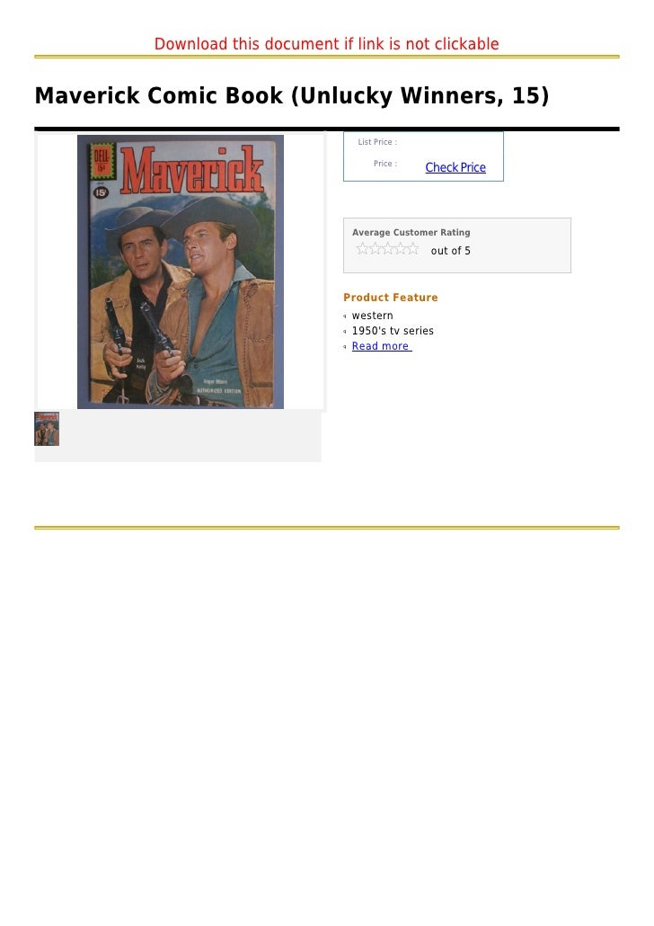 Download this document if link is not clickableMaverick Comic Book (Unlucky Winners, 15)                                  ...