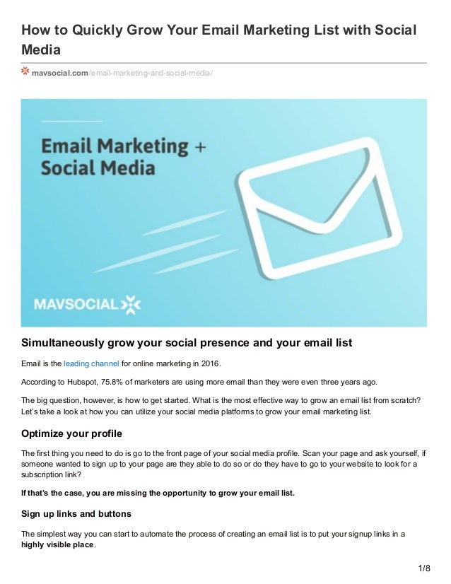 how to quickly grow your email marketing list with social
