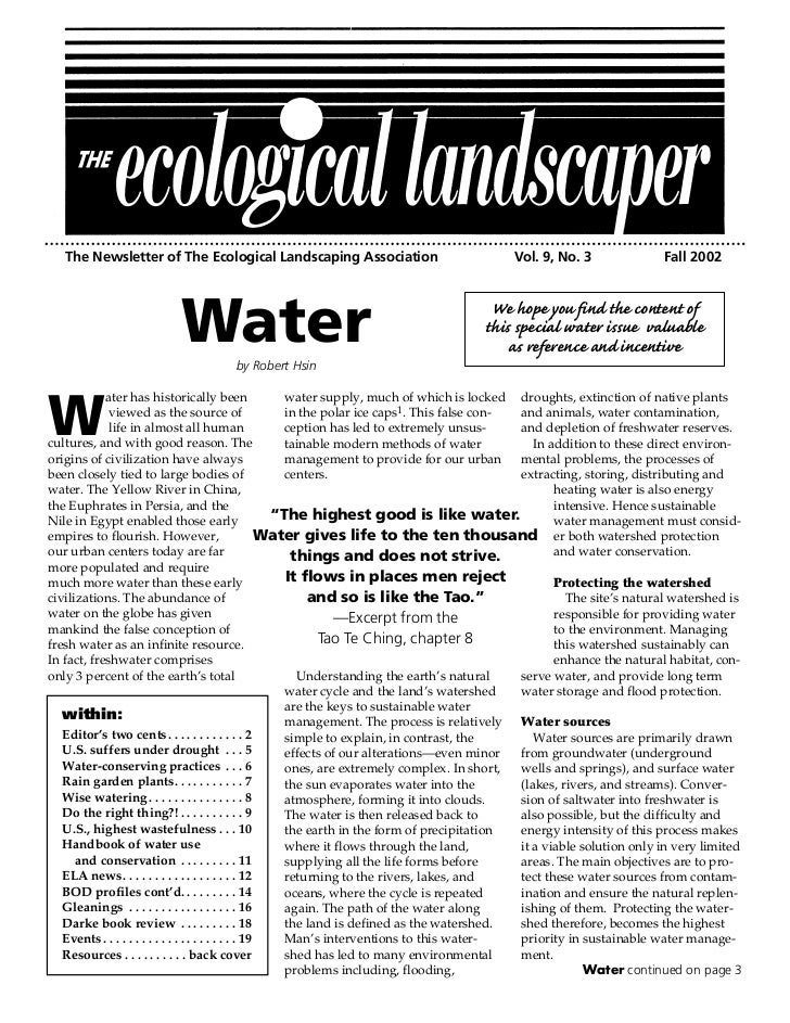 The Newsletter of The Ecological Landscaping Association                                  Vol. 9, No. 3                 Fa...