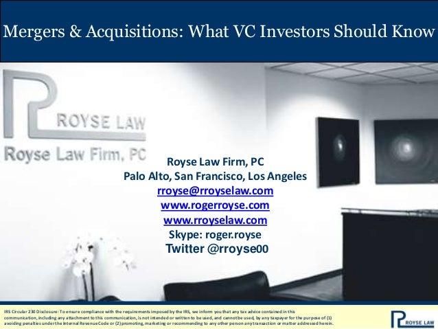 Mergers & Acquisitions: What VC Investors Should Know