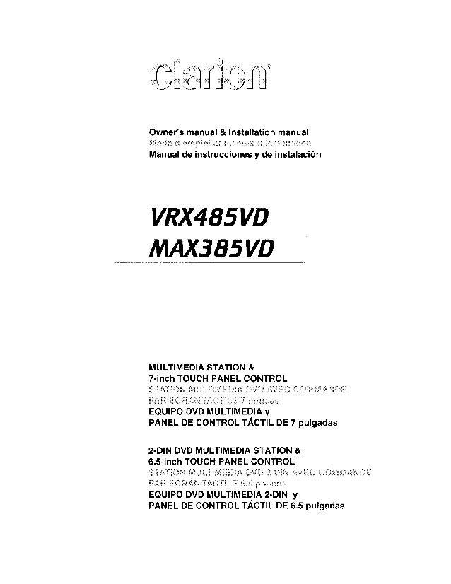 Clarion Max385vd user manual