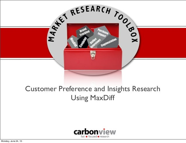 Customer Preference and Insights ResearchUsing MaxDiffMonday, June 24, 13