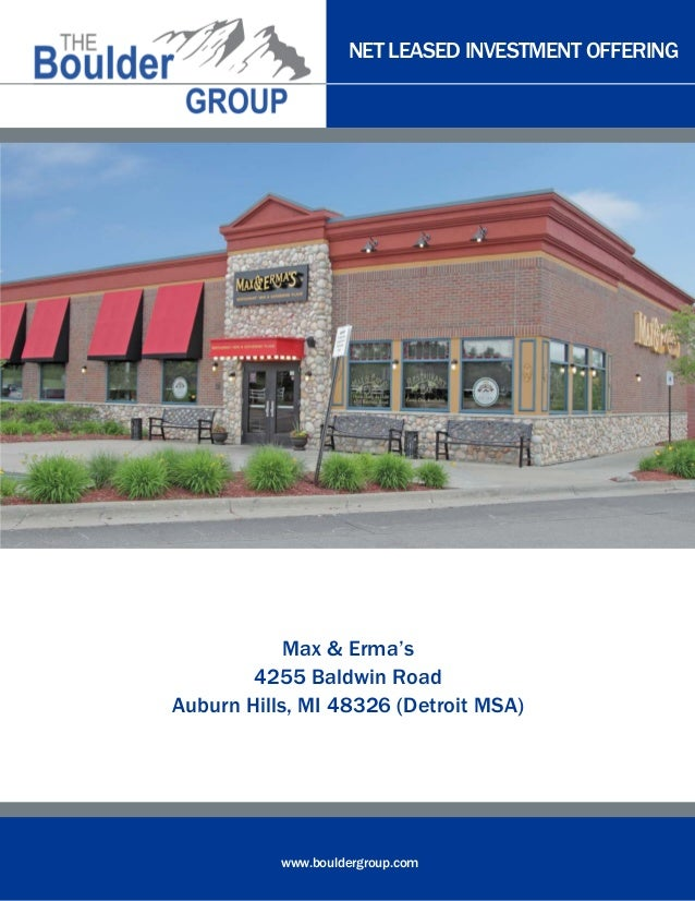 Net Leased Max and Erma's for sale | The Boulder Group