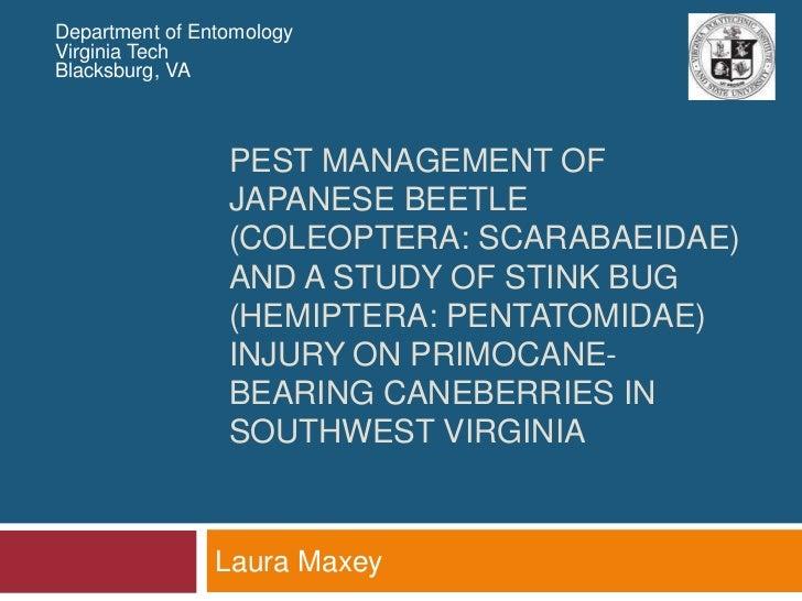 Department of Entomology<br />Virginia Tech<br />Blacksburg, VA<br />PEST MANAGEMENT OF JAPANESE BEETLE (COLEOPTERA: SCARa...