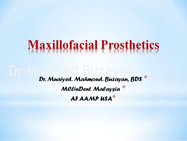 Maxillofacial intro  4th yr
