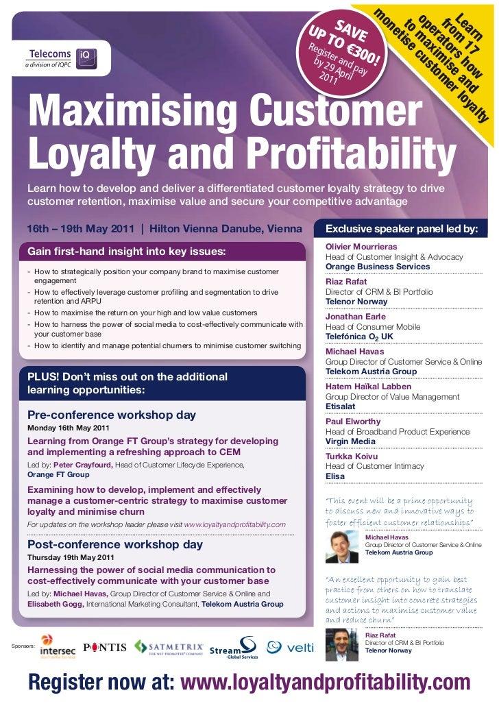 Maximising Customer Loyalty & Profitability Final Programme