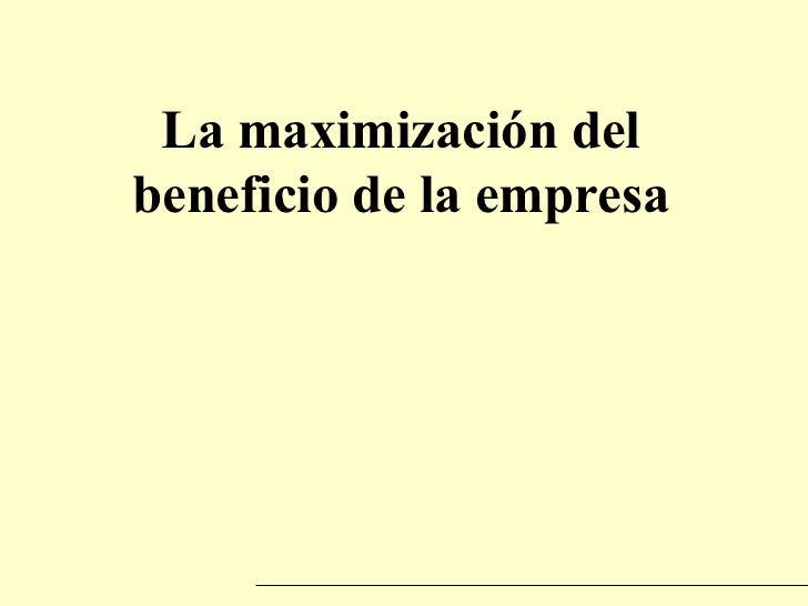 La maximización del beneficio de la empresa