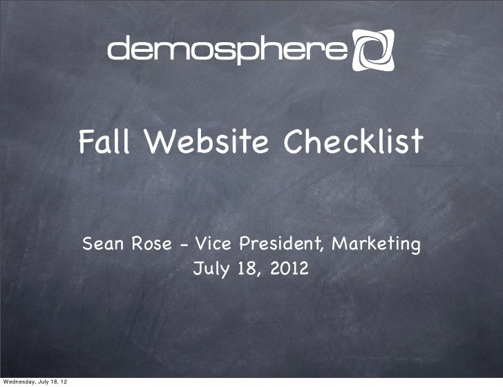 Fall Website Checklist                         Sean Rose - Vice President, Marketing                                     J...