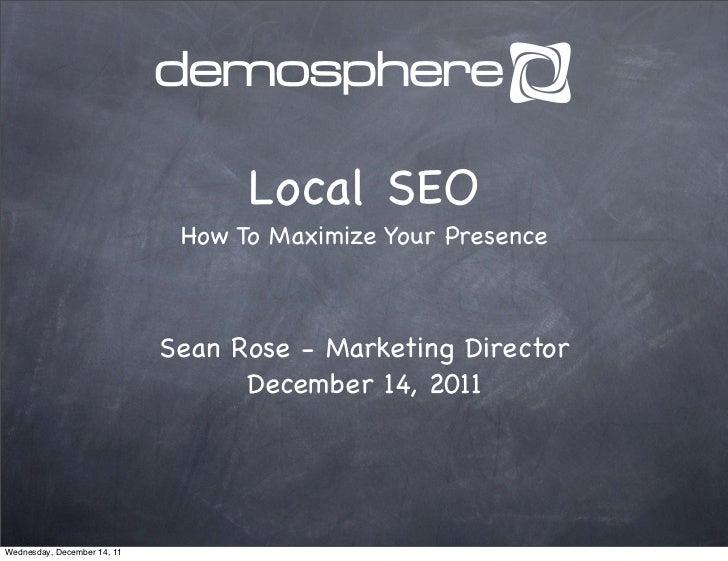 Local SEO - Maximize Demosphere XXXIII