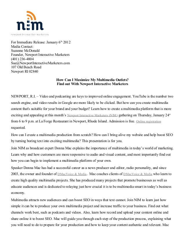 For Immediate Release: January 6th, 2012Media Contact:Suzanne McDonaldFounder, Newport Interactive Marketers(401) 236-4804...