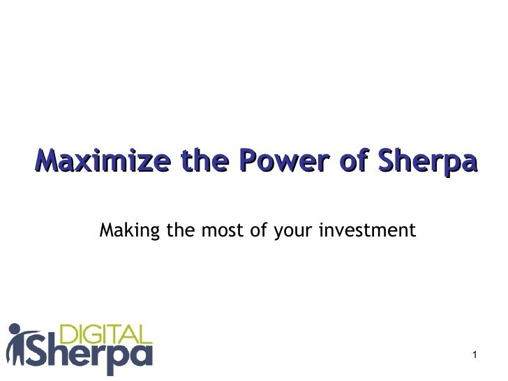 Maximize the Power of Sherpa