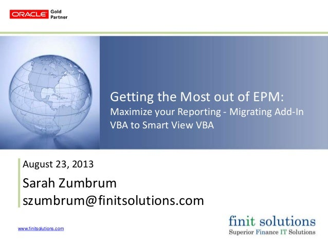 Getting the Most out of EPM: Maximizing your Reporting – Migrating Add-In VBA to Smart View VBA
