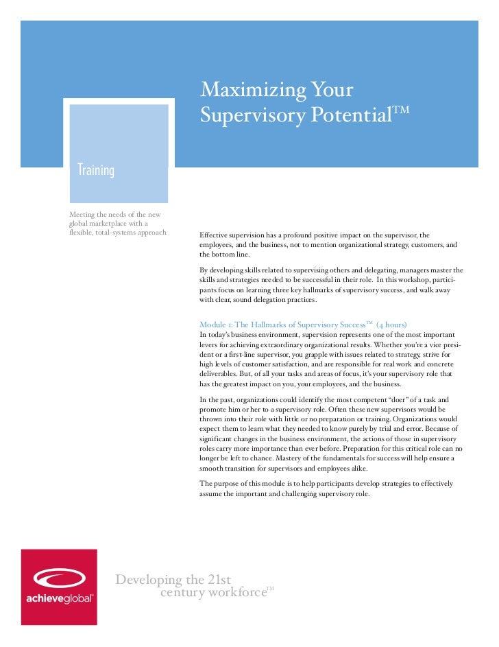 Maximizing Your                                   Supervisory PotentialTM  TrainingMeeting the needs of the newglobal mark...