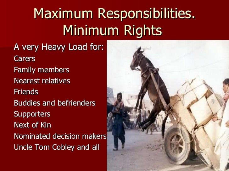 Maximum Responsibilities. Minimum Rights  <ul><li>A very Heavy Load for: </li></ul><ul><li>Carers </li></ul><ul><li>Family...