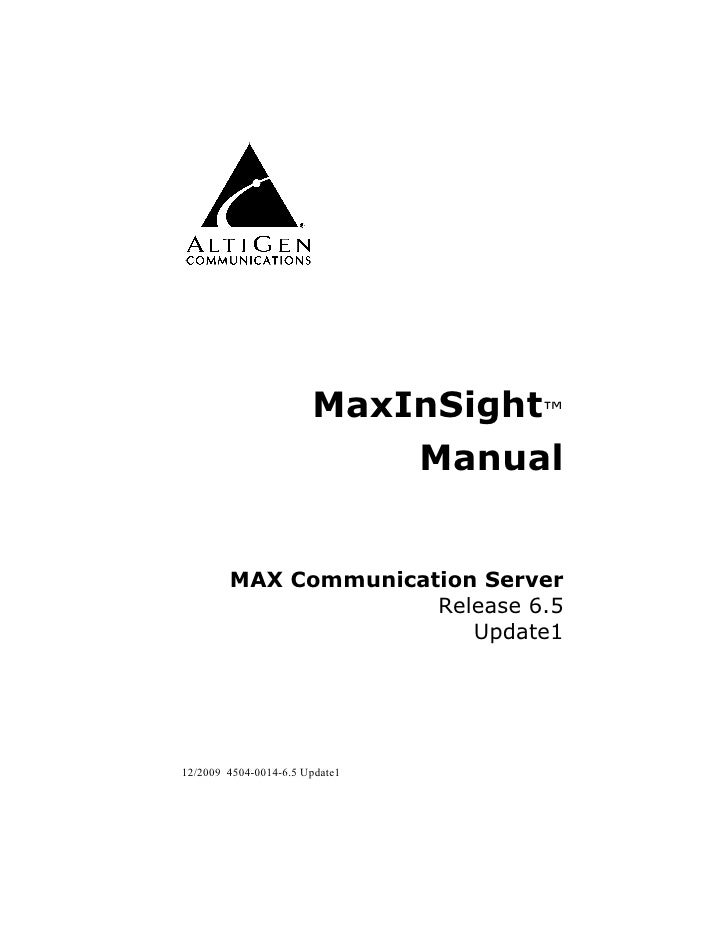 AltiGen Max In Sight  Manual
