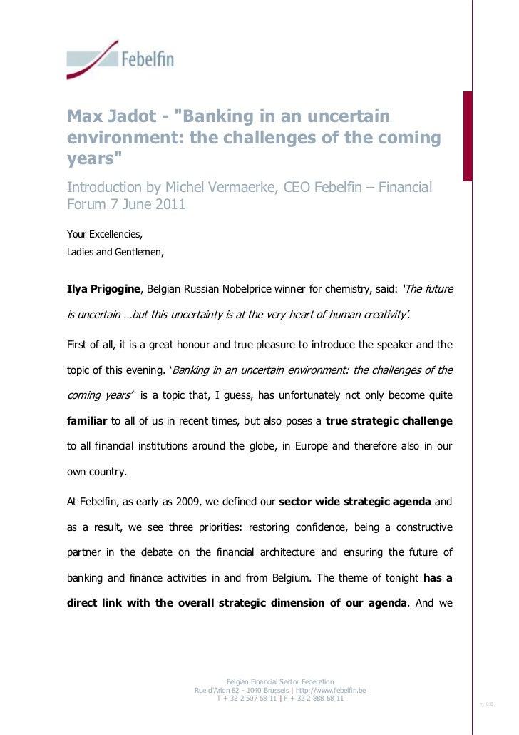 Introduction Michel Vermaerke - Financial Forum 7 June 2011
