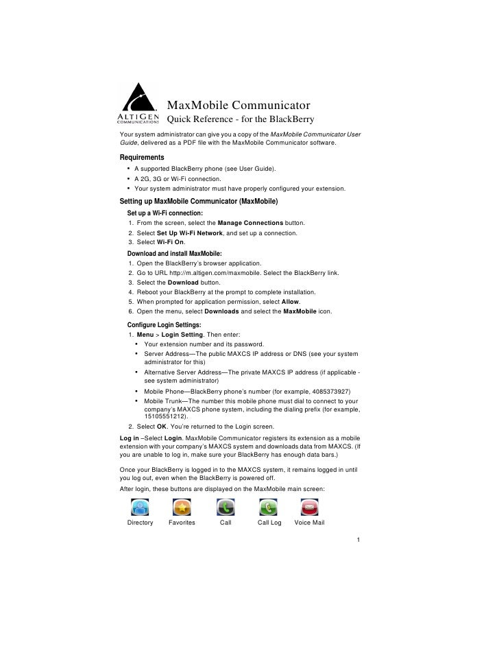 MaxMobile Communicator                   Quick Reference - for the BlackBerry Your system administrator can give you a cop...